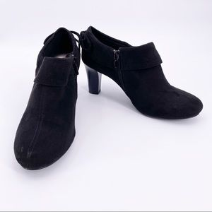 Coach And Four Black Faux Suede Heeled Booties